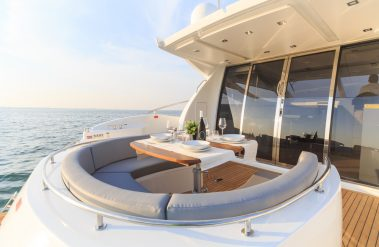 Front of a luxury yacht at sea